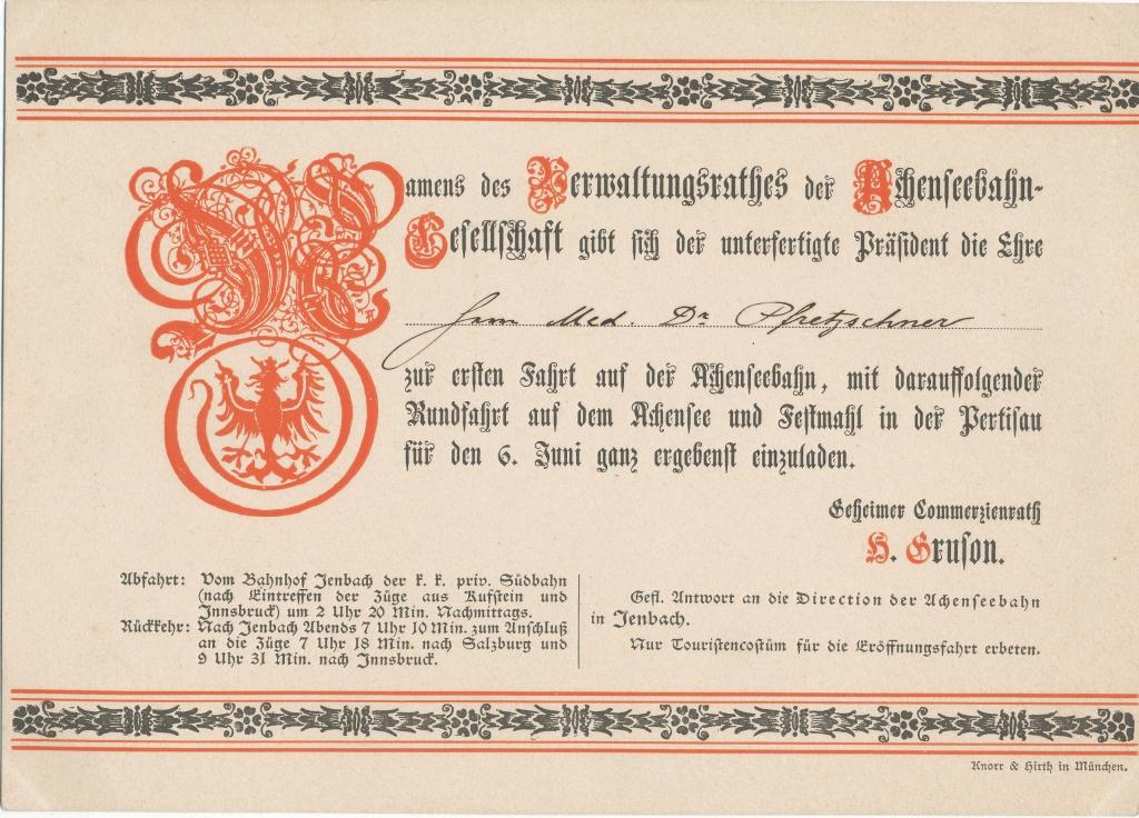 Achenseebahn Einladung 1898