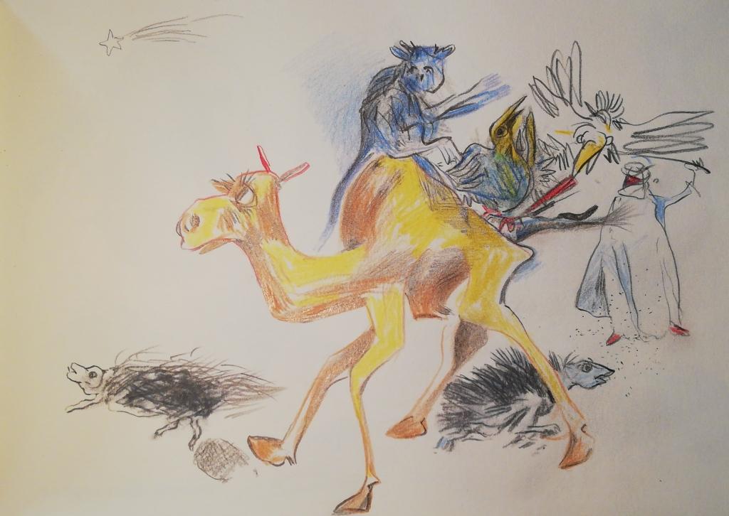 """Buntstift - Zeichnungen von Reiner Schiestl aus dem Buch """"Bestiarium"""", Buntstiftzeichnung: """"Lorenz von Arabien """""""