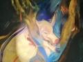 Acrylbild von Reiner Schiestl: Schweinchen, Attribut des Hl. Antonius